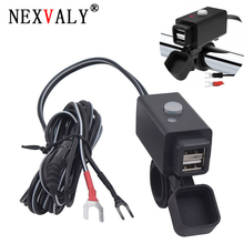 NEXVALY Motorcycle USB Phone Charger Waterproof USB Power Adapter Switch 5V Dual Ports Smart Charging Power Socket for Phone waterproof dual usb charger motorcycle cell phone charging port 12v to 5v 2 1a power adapter