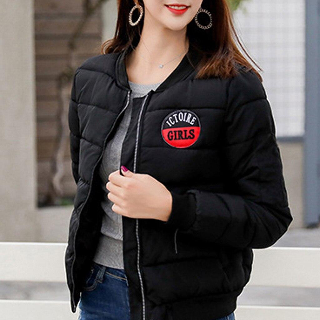 Женская куртка с хлопковой подбивкой, модная винтажная однотонная бейсбольная куртка с длинными рукавами, #115|Куртки|   | АлиЭкспресс