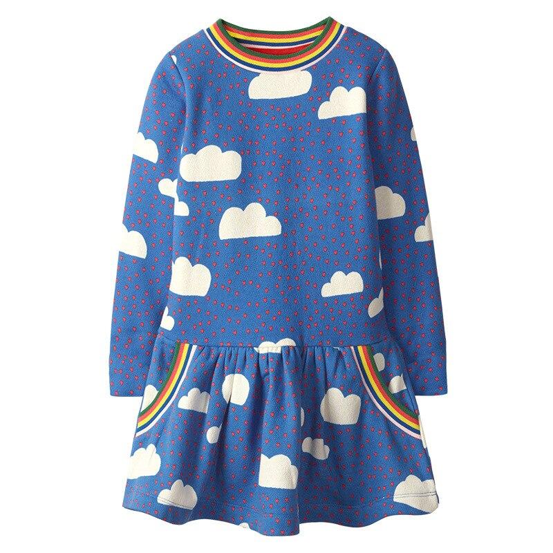 SAILEROAD Cloud Rainbow Print for Kids Dress Autumn Winter Princess Party Tutu Dress Girls Dress Sequins Children's Vestidos 2