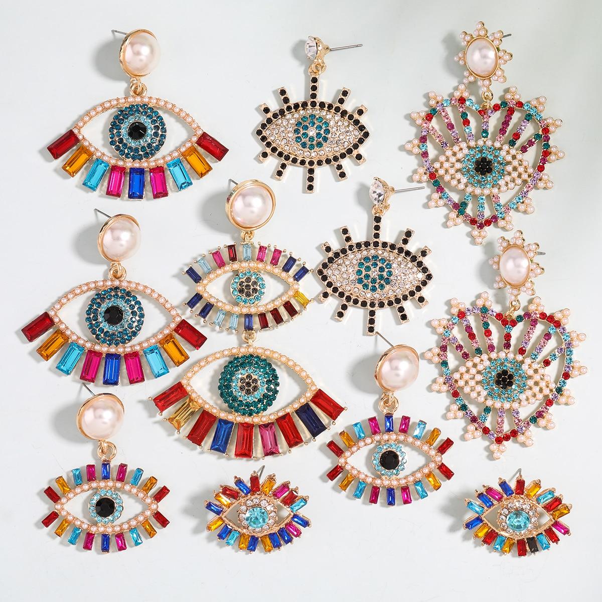 Женские серьги-подвески Pauli Manfi 2020, разноцветные стразы в виде глаз, модные ювелирные аксессуары для кампуса