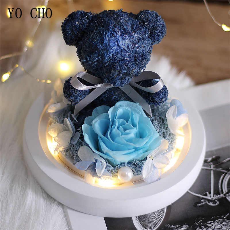 YO CHO Teddybär Echt Rose In Glas Dome Weihnachten Home Hochzeit Decor Valentines Geschenk Ewige Erhalten Rose Blume Geschenk