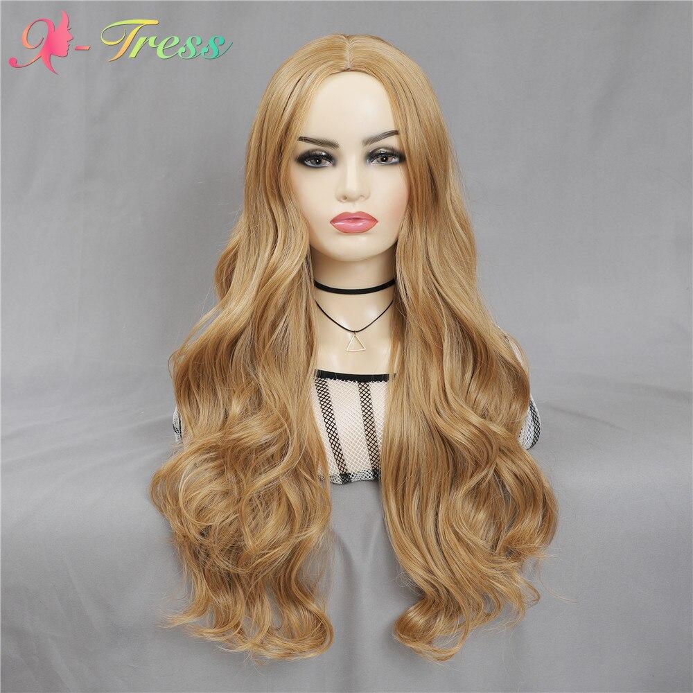 X-TRESS bal sarışın sentetik saç peruk kadınlar için orta kısmı yapay kafa derisi doğal saç çizgisi uzun vücut dalga Cosplay peruk