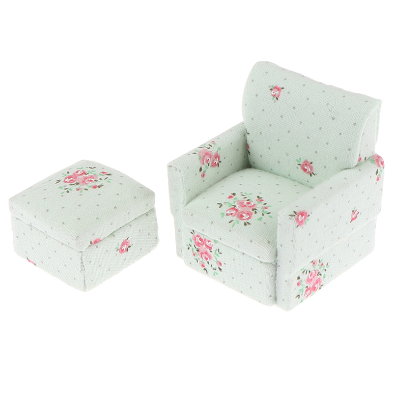 1set Miniature Furniture Fabric Model Sofa Kids Pretend Play Toy Mini Dollhouse Furniture Sofa Set Miniature Living Room