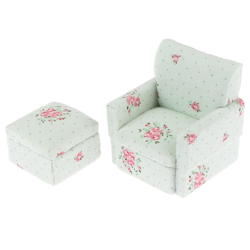 1set Miniature Furniture Fabric Model Sofa Kids Pretend Play Toy Mini Dollhouse Furniture Sofa Set Miniature Living Room