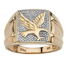 Personality Fashion Two Tone Gold Rings Men's Wedding Band Flying Eagle Ring Motorcycle Party Punk Cool Hip Hop Jewelry for Male cool flying