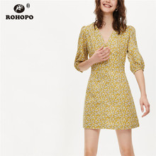 ROHOPO White Daisy Floral Puff SleeveYellow Dress Buttons Fly Elegant Ladies Tiny Printed Mini Vestido #9470