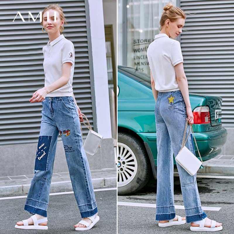 Amii минималистичные джинсы с вышивкой, весенние женские свободные джинсовые длинные брюки с карманами на молнии, 11970102