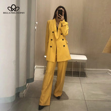 Bella Philosophy Women Chic Yellow Blazer Double Breasted Long Sleeve Office Wear Coat Solid Female Casual Outerwear Tops(China)