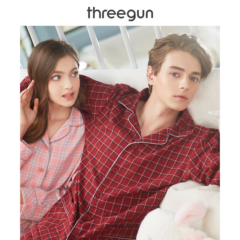 THREEGUN Suit Sleepwear Couple Casual Pajamas-Set Warm Winter Cotton And Autumn Turn-Down-Collar