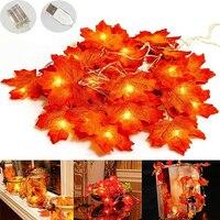 Decoración de otoño 6M 40 luces Hojas de arce guirnalda guirnaldas de luces Led para Navidad Halloween guirnalda de bricolaje decoración de flores de seda