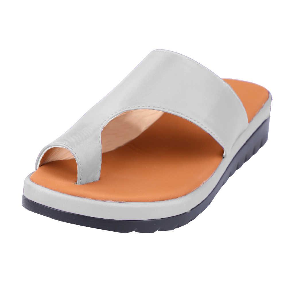 Giày Da PU Nữ Thoải Mái Nền Tảng Đế Phẳng Nữ Da Ngẫu Ngón Chân Cái Chân Hiệu Chỉnh Sandal Chỉnh Hình Bunion Corrector
