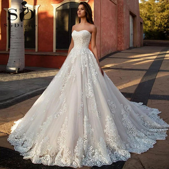 SoDigne Ball Gown Wedding Dress With Lace 2021 Sexy Backless Applique Corset Princess Bridal Gowns Vintage Plus Size Custom Made boho wedding dress 2020 a line lace applique sexy backless bridal dress beach wedding gown plus size custom made