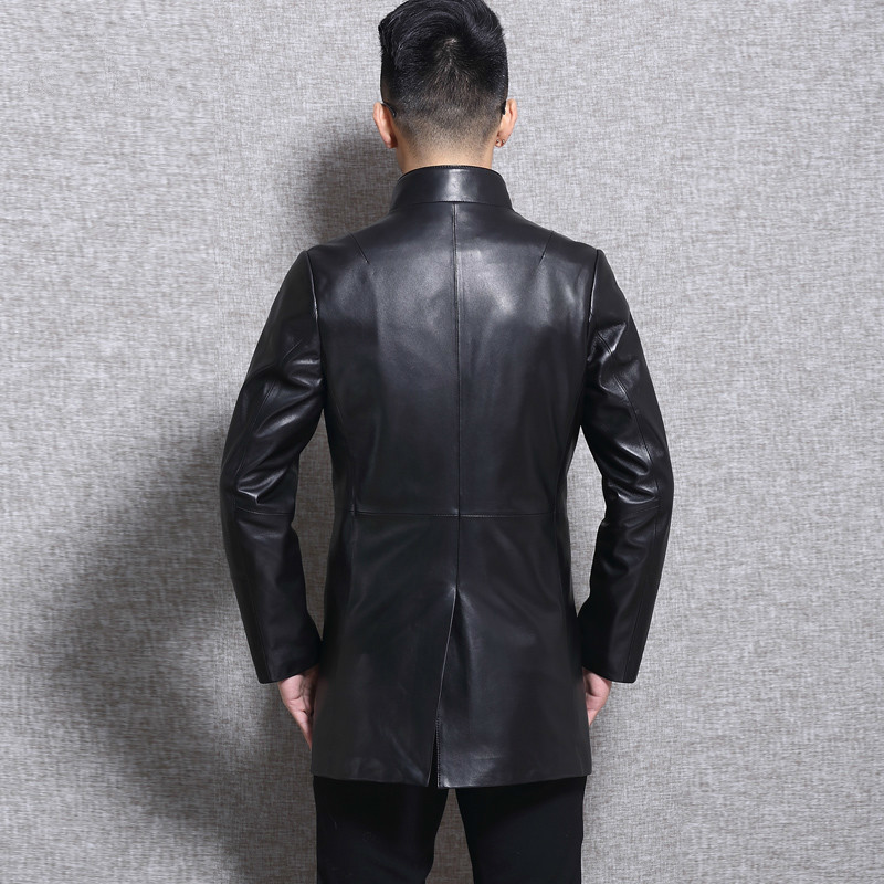 Genuine Leather Jacket Men Long Sheepskin Coat Spring Autumn Slim Windbreaker Real Leather Jackets L16C3105 KJ2243