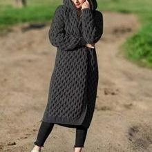 Plus Size Fashion Women's Hooded Thick Knitted Sweater Cardigan Coat Long Sleeve Winter Warm Hooded Cloak For Women's Clothing new arrival sweater plus size s 5xl women fashion tops thick knitted sweaters cardigan coat long sleeve winter warm hooded cloak