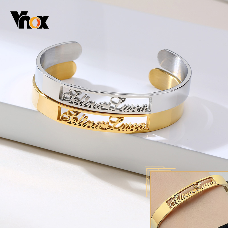 Vnox Customized Name Cuff Bracelet Bangles for Women Personalized Gold and Silver Color Stainless Steel Wristband Gifts
