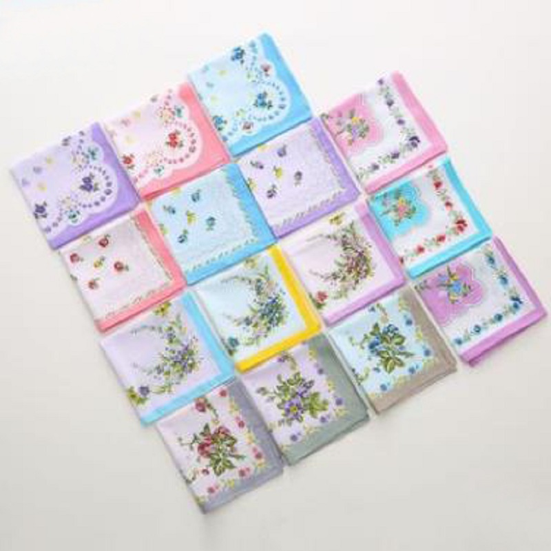12pcs 28*28cm New 100% Cotton Handkerchiefs  Ladies Garden Wind Cotton Printed Small Handkerchief Cotton Small Square Girl Gift