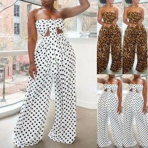 Женские наборы co ord 2020 новый летний праздник 2 шт бандо сексуальный леопардовый и горошек Топ + длинные штаны широкие брюки комбинезоны