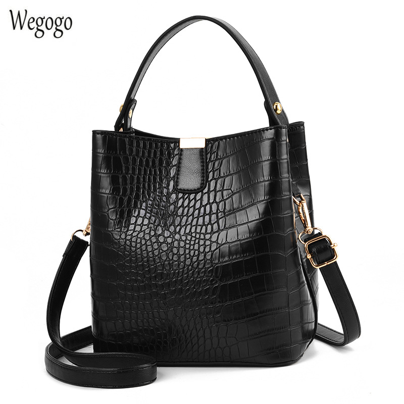 Retro Alligator Bucket Bags For Women Crocodile Pattern Handbag Capacity Casual Crocodile Shoulder Messenger Bags Ladies Bag title=