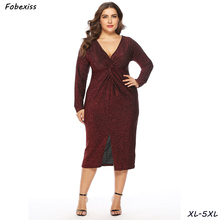 цена на Knitted Sequined Dress Women Fall 2019 Long Sleeve Sexy V Neck Elegant Red Party Dress Women Plus Size 5XL Bodycon Midi Dress