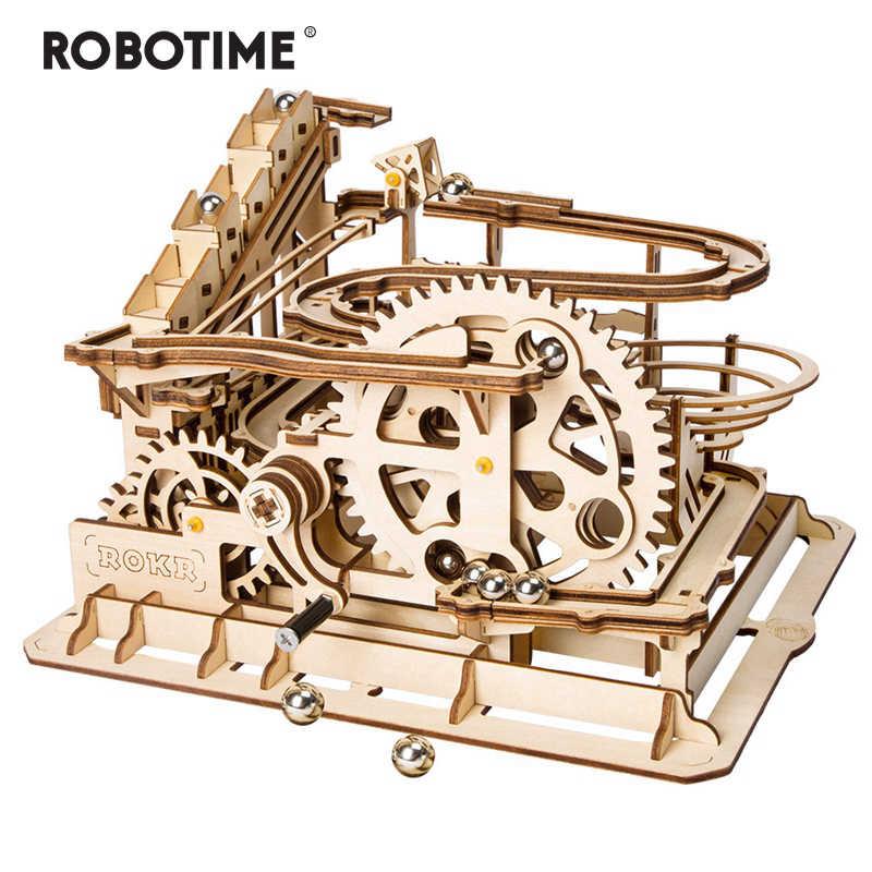 Robotime Rokr 4 rodzaje marmuru Run gry DIY Waterwheel drewniany Model zestawy do budowania montaż zabawki prezent dla dzieci dorosłych dropship