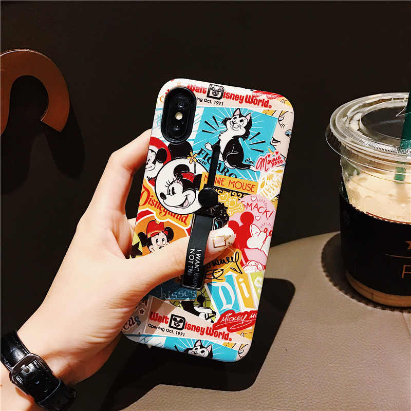 Para Iphone Caso Hide 6s Stand Holder Capa para Iphone 6 6s XS MAX XR 7 8 Plus anel de Mickey Minnie Silicon Casos de Telefone