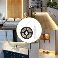 Tira de luces LED con Sensor de movimiento PIR, lámpara LED con USB 5V, 1m, 2m, 3m, batería SMD 2853, cinta Flexible para retroiluminación de interiores