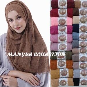 Image 1 - 卸売価格 90*180 センチメートル女性イスラム教徒ヒジャーブスカーフファムクリンクル musulman ソフト綿スカーフイスラムヒジャーブショールとラップ