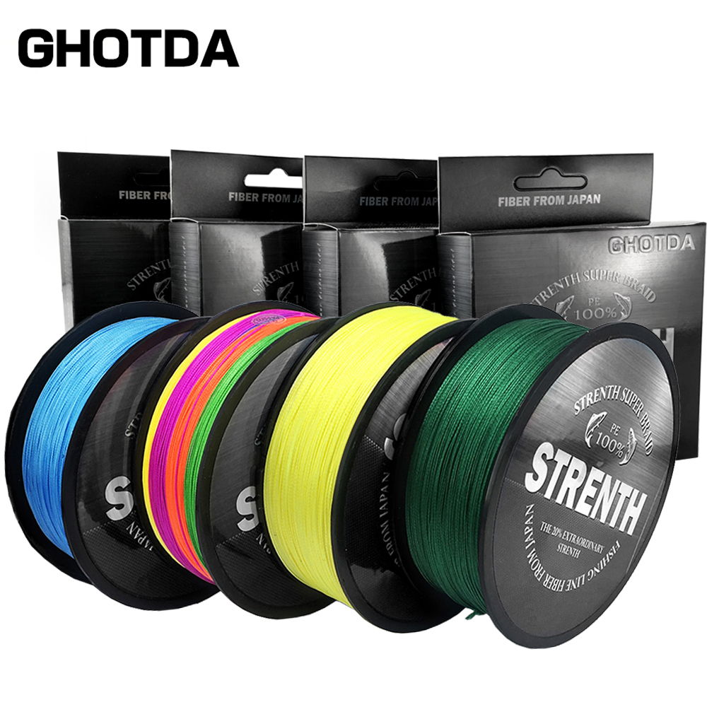 GHOTDA Braided Fishing Line 9 Strands Fluorescent Yellow 100M 150M 300M 500M Cord linha multifilamento X9 Fishing