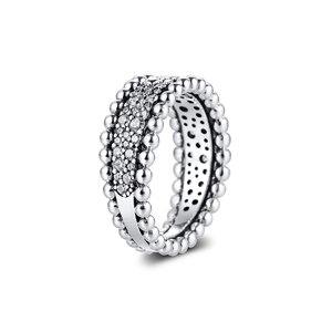 Image 3 - CKK bague perlée pavé anneaux femmes Anel Feminino 100% 925 bijoux en argent Sterling Anillos Mujer mariage bagues pour fiançailles