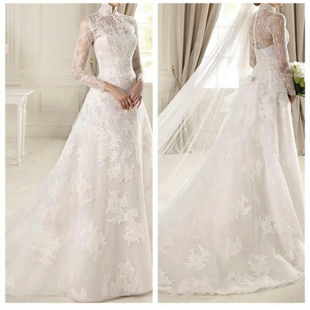 New Beautiful High Neck A-line Applique Lace Long Sleeve Wedding Dresses 2016
