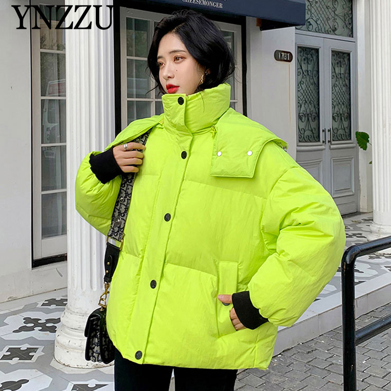 2019 Winter Short Women Down Jacket Fashion Fluorescent Outwear With Hooded Loose Casual Warm Coat High Quality YNZZU 9O098