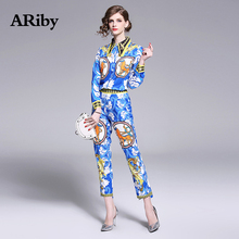 ARiby Women Print Two Piece Set 2019 Autumn New Fashion Office Lady Long-sleeved Shirt+feet Pants Nine Pants Elegant 2 Piece Set коврик для мышки круглый printio mass effect