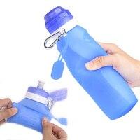 600 ml dobrável silicone garrafa de água com gancho à prova de vazamento copo portátil para esportes de viagem ao ar livre edf88