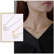 Женское Ожерелье с двойным квадратным зажимом шикарное ювелирное
