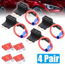 4 Pair 12V Fuse Holder Add-a-circuit TAP Adapter Standard Ford ATM APM Blade Auto with 10A Car
