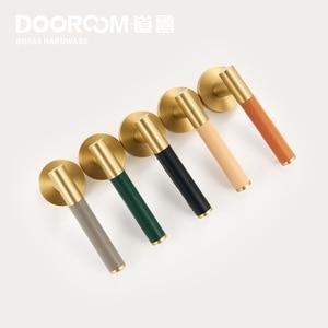 Image 3 - Dooroom Brass Leather Door Lever Set Modern Light Luxury Multi Colors Interior Bedroom Bathroom Wood Door Lock Set Dummy Handle