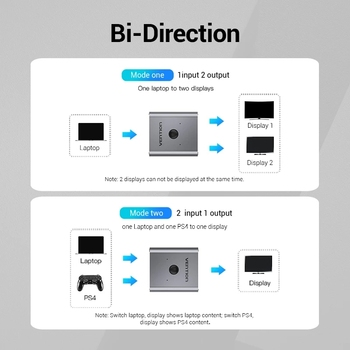 Vention HDMI Switcher 4K Bi-Direction 2.0 HDMI Switch 1x2/2x1 Adapter 2 in 1 out Converter for PS4 Xiaomi TV Box HDMI Splitter 2