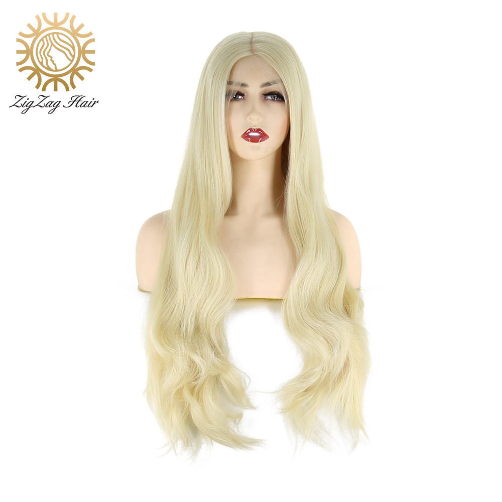 ZigZag Bleach 613 Blonde Wig 13x6 Synthetic Lace Front Wig For Women Long Wavy Middle Part High Temperature Resistance Fiber Wig