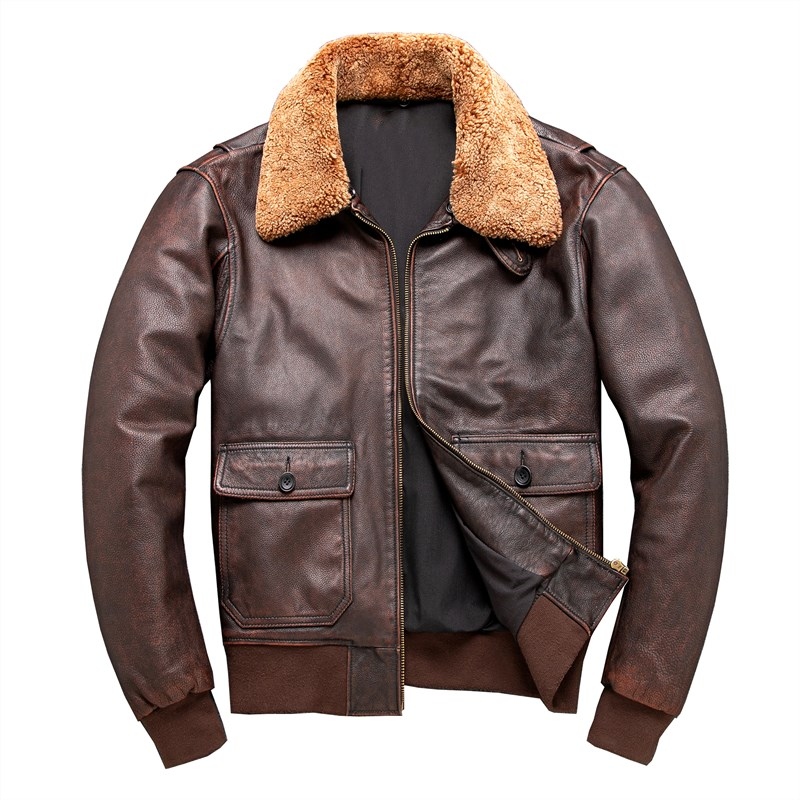 2020 Brown Men Pilot Leather Jacket Wool Collar Large Size XXXXL Genuine Cowhide Russian Autumn Military Aviator Coat