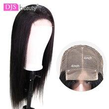 4x4 koronka zamknięcie peruka 150% gęstość proste włosy ludzkie peruki brazylijski ludzki włos peruki dla czarnych kobiet Remy DJSbeauty