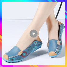 Women Loafers Ballet Flats Flat-Shoes Comfortable Female Casual Genuine-Leather Fashion
