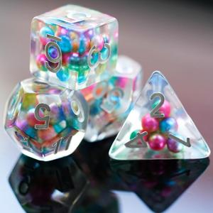 7Pcs/Set DND Dice Filled with Colorful Beads D&D Dice Polyhedral Games Dice Set for Table Games MTG RPG