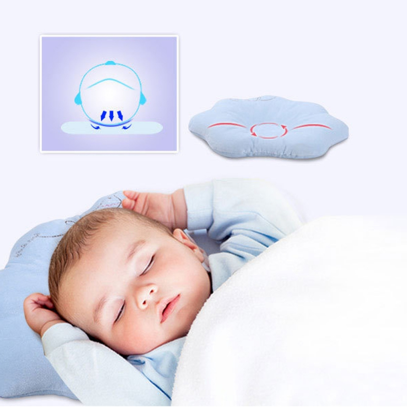 Soft Infant Baby Cotton Pillow Newborn Prevent Flat Head Anti Roll Support Neck