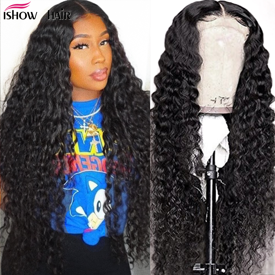 Brazilian Deep Wave Lace Front Wig 360 Lace Frontal Human Hair Wigs 13x6 Lace Front Human Hair Wigs Ishow 180% Deep Wave Wig