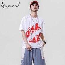 Yasword Short Sleeve T-shirt Men Summer New Causal Back Print Fashion 100% Cotton Tshirt Plus Size Brand Clothing
