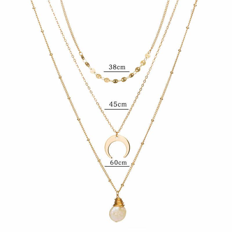 11 stile Boho Borsette Oro Lettera M Collane Del Pendente Per Le Donne di Modo Dorato Catene Geometriche a Più strati Della Collana Dei Monili