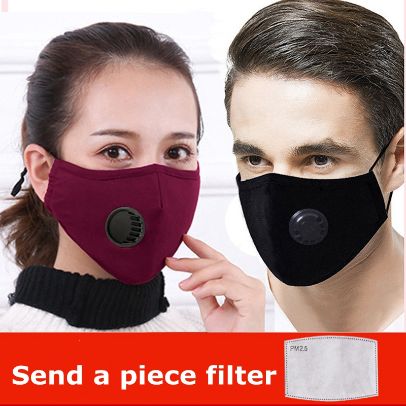 Dust Mask With Valve Unisex Cotton Masks PM2.5 Air Pollution Filter Mouth Face Mask Breathable Anti-fog Mask Washable Windproof