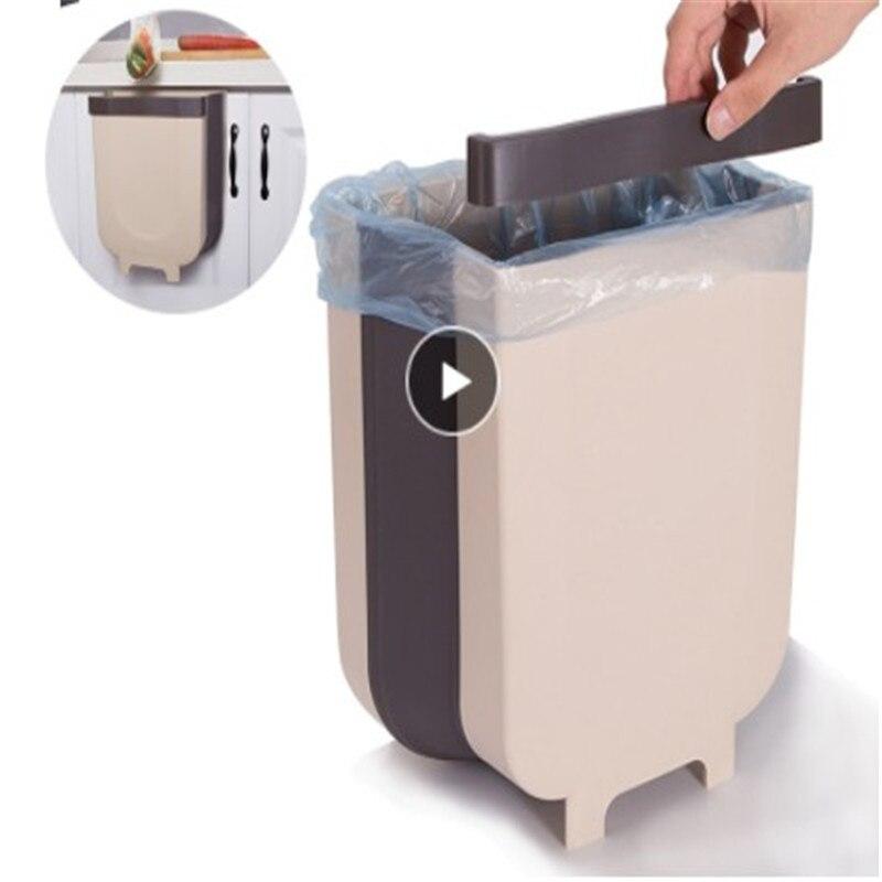 8l porta de armazenamento de resíduos wc fixado na parede dobrável banheiro lata lixo cozinha dobrável bin resíduos ouro pendurado grande armário do lixo