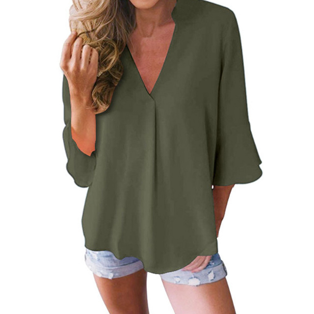 Large Size Casual Loose Chiffon Shirt Women Lotus Leaf Seven Sleeves Blouse Spring Summer Trendy Pure Color V-Neck Tops S-5XL 5