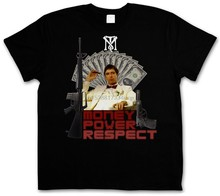 Geld Power Respektieren Tony Montana T Hemd Tm Schlag Mobster Gangster Runde Kragen Kurzarm T-Shirts Top T Plus Größe(China)